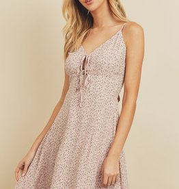Miss Bliss Ditsy Floral Print Mini Dress- Dusty Pink