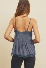 Miss Bliss Basic Silky Cami Top- Slate Blue