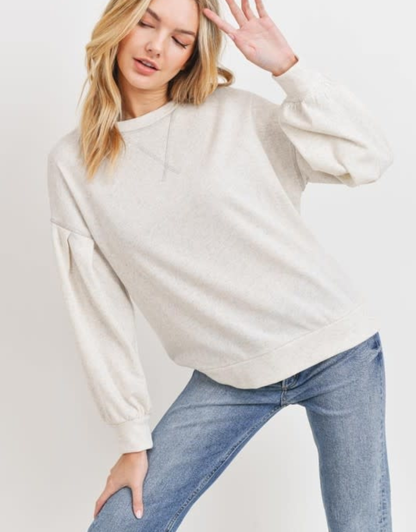 Miss Bliss Balloon Sleeve Terry Knit Pullover- Oatmeal