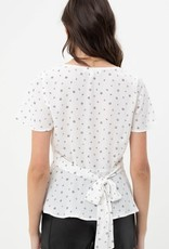 Miss Bliss SS Floral Print Blouse with Waist Tie- Off White