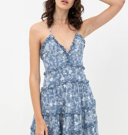 Miss Bliss V Neck Floral Print Ruffle Dress- Blue