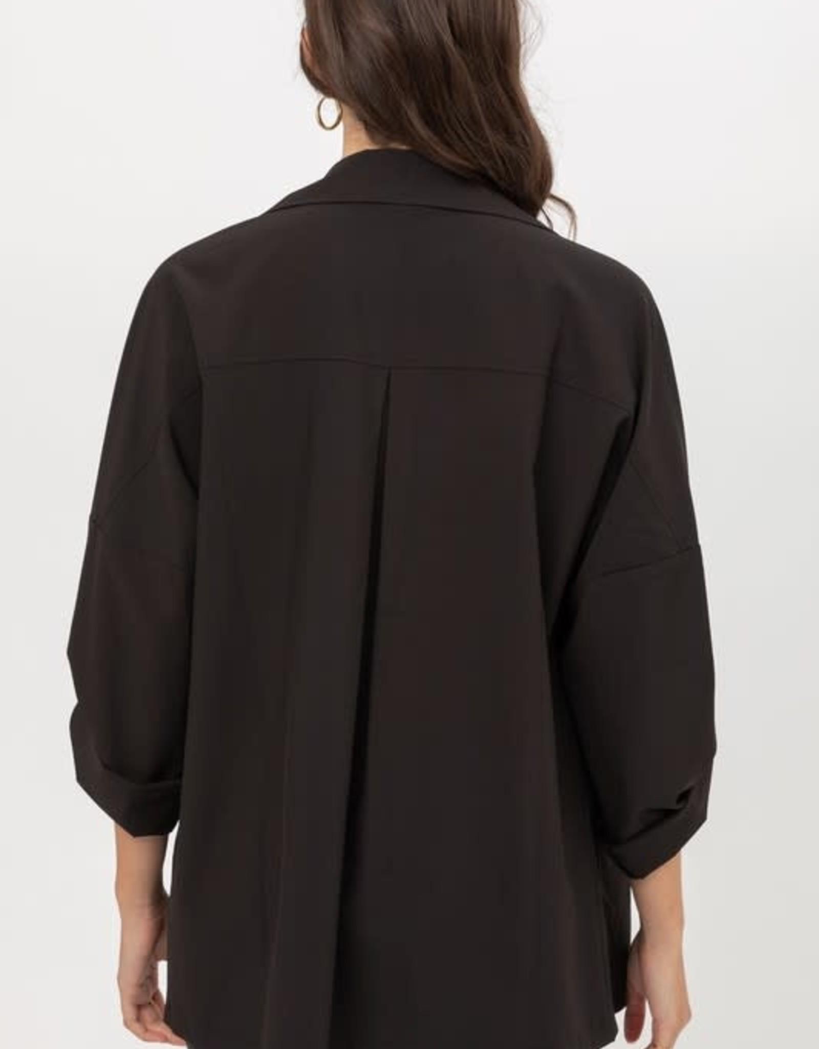 Miss Bliss Woven Draped Lapel Jacket- Black