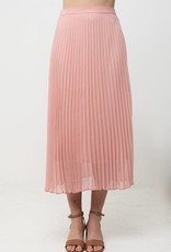 Miss Bliss Pleated Midi Skirt- Pink