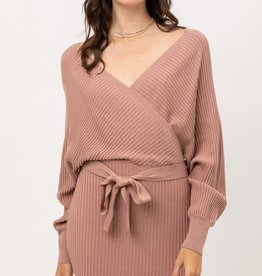 Miss Bliss Off Shoulder Belted Wrap Dress- Mauve