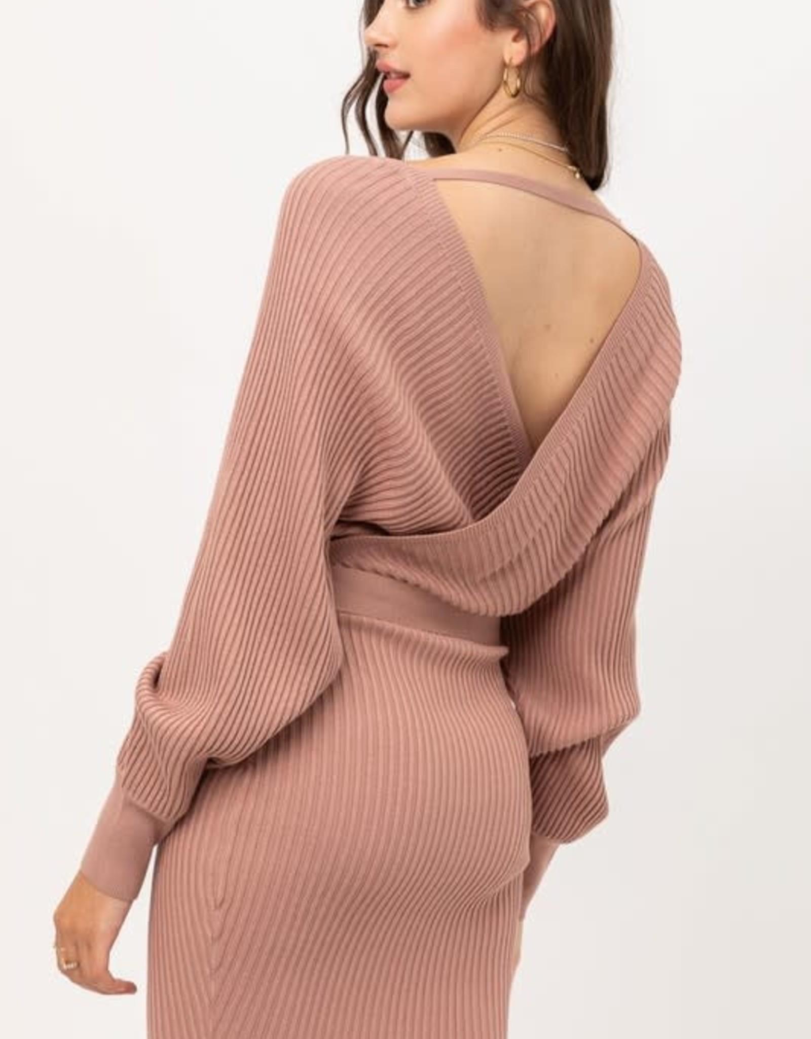 Miss Bliss Off Shoulder Belted Wrap Dress- Mauve