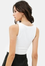 Miss Bliss Slvls Scoop Neck Tank Top- White