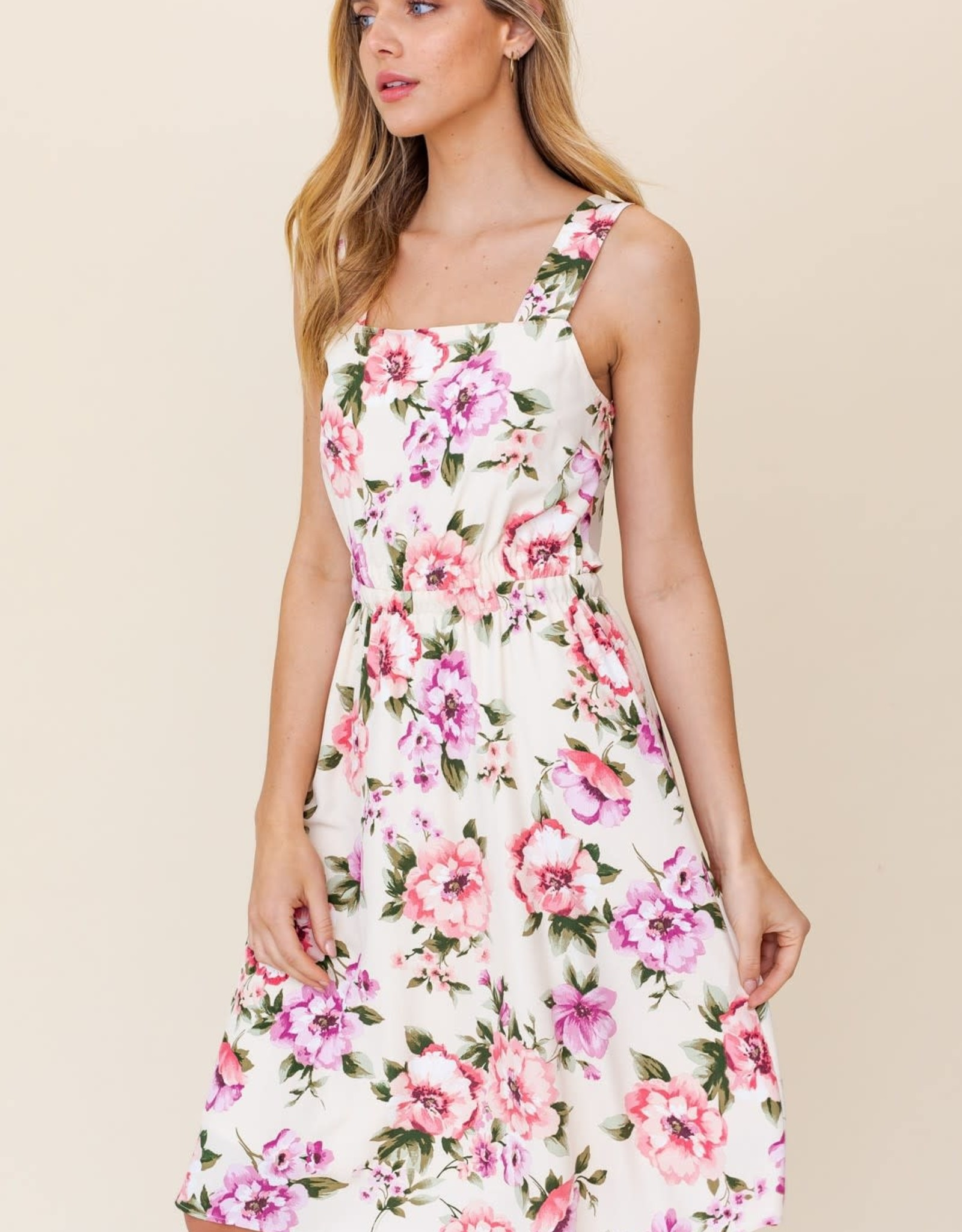 Miss Bliss Floral Print Midi Dress With Open Back- Cream