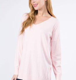 Miss Bliss LS V Neck W/ Center Seam Detail- Cotton Candy