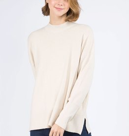 Miss Bliss Mockneck Pullover- H.Oatmeal