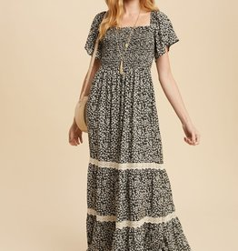 Miss Bliss Smocked Square Neck Maxi Dress- Black Floral