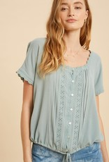 Miss Bliss Square Neck Pin Tuck Blouse- Sage Blue