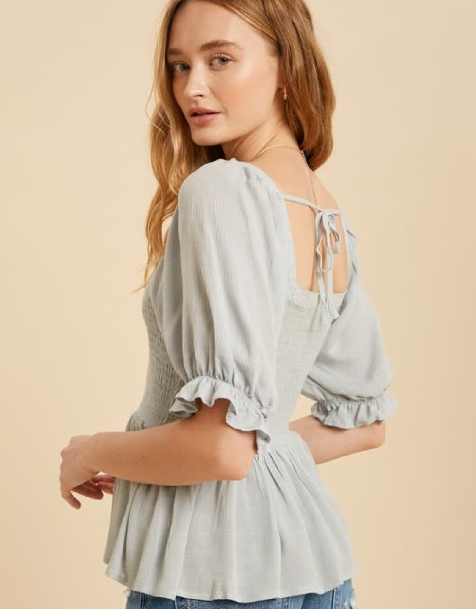 Miss Bliss Square Neck Ruffle Sleeve Babydoll Top- Powder Blue