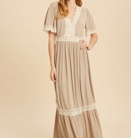 Miss Bliss Lace Inset Maxi Dress- Natural Sand