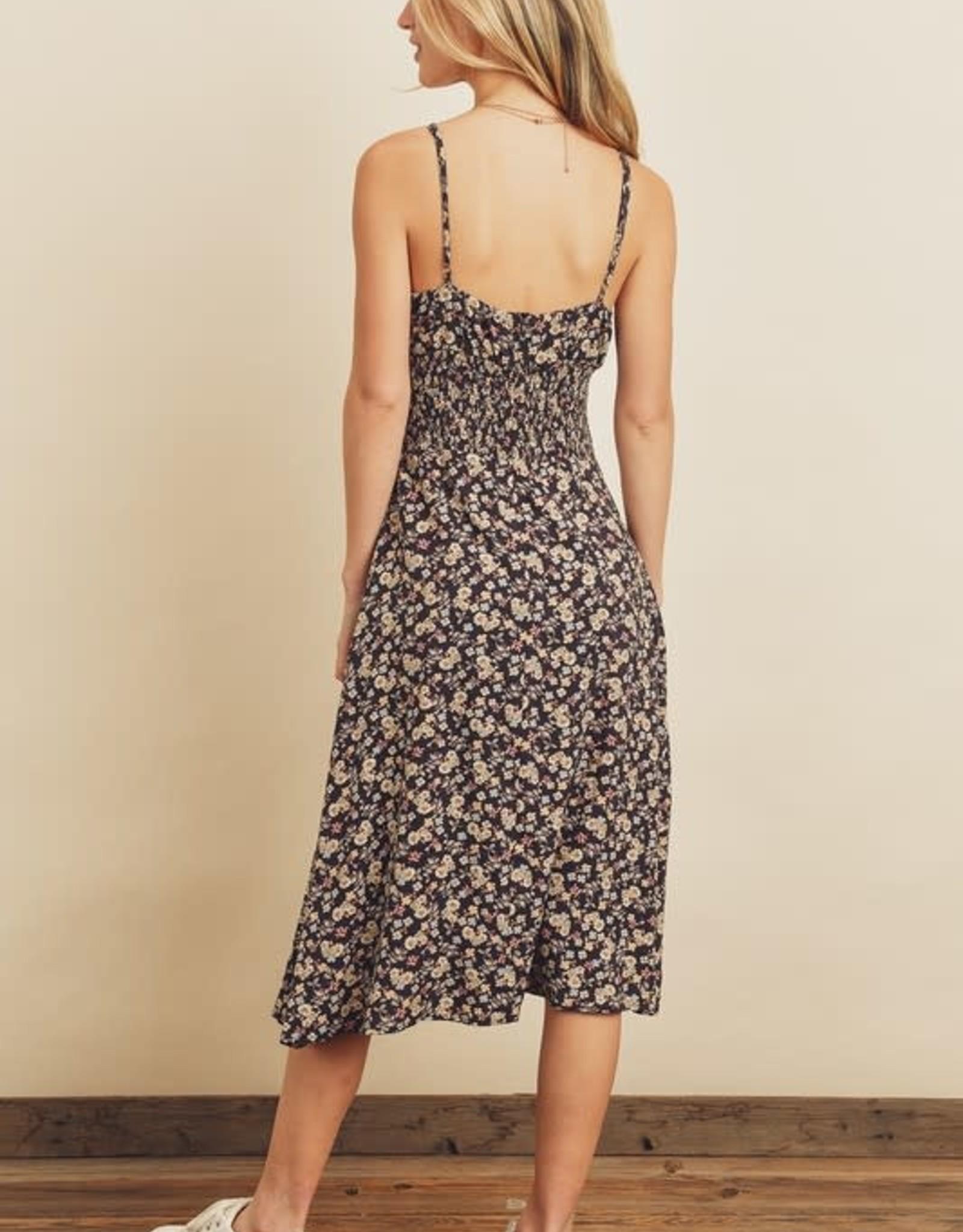 Miss Bliss Floral Smocked Waist Midi Dress- Black