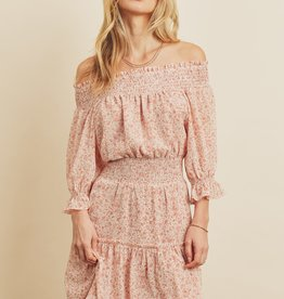 Miss Bliss Floral Off Shoulder Smocked Dress- Blush