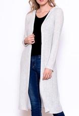Chris & Carol Ribbed Knit Hooded Cardigan- Grey