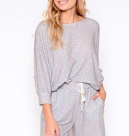 Miss Bliss Leopard Shorts Lounge Wear- Grey