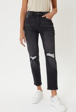 Miss Bliss High Rise Distressed Mom Jean- Black