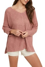 Miss Bliss Reverse Seam Loose Fit Sweater- Rose
