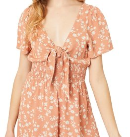 Miss Bliss Floral Print Smocked Waist Romper- Clay