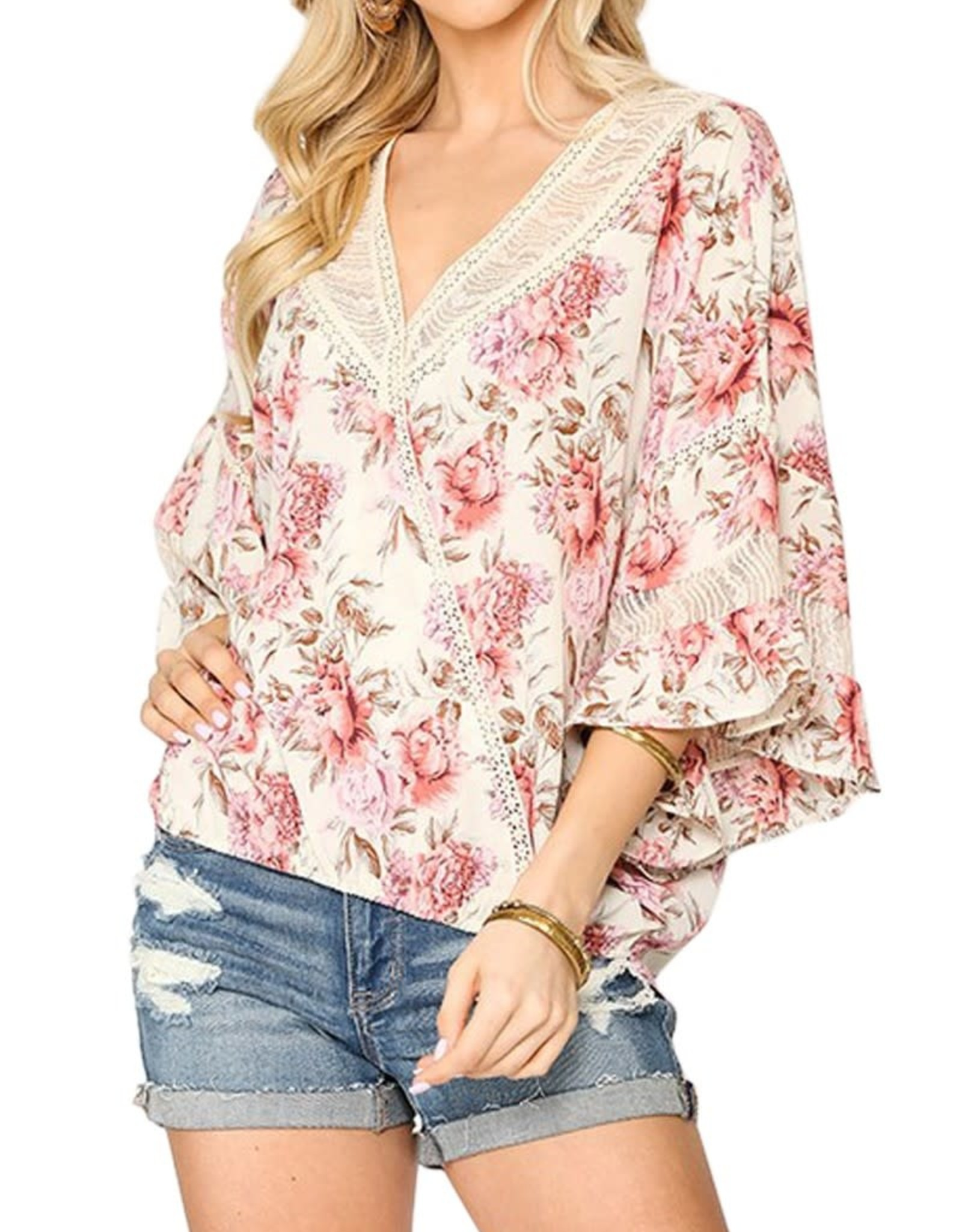 Miss Bliss Floral Print Flutter Sleeve Top- Off White