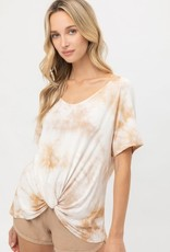 Miss Bliss SS Front Knot Tie Dye Top- Khaki