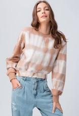 Miss Bliss Tie Dye Cropped Sweatshirt- Brown