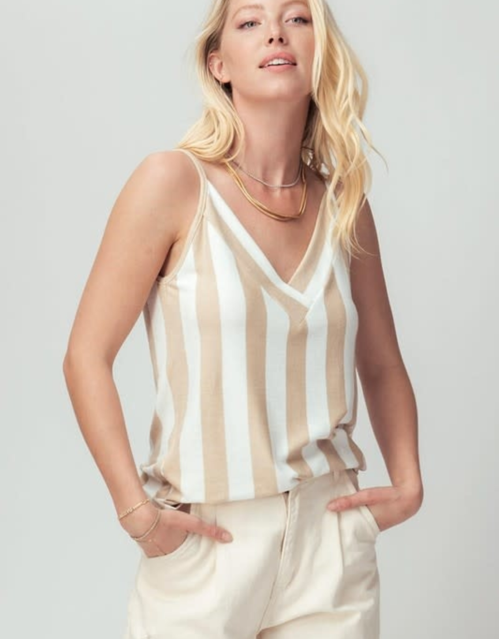 Miss Bliss Striped V Neck Cami- Taupe