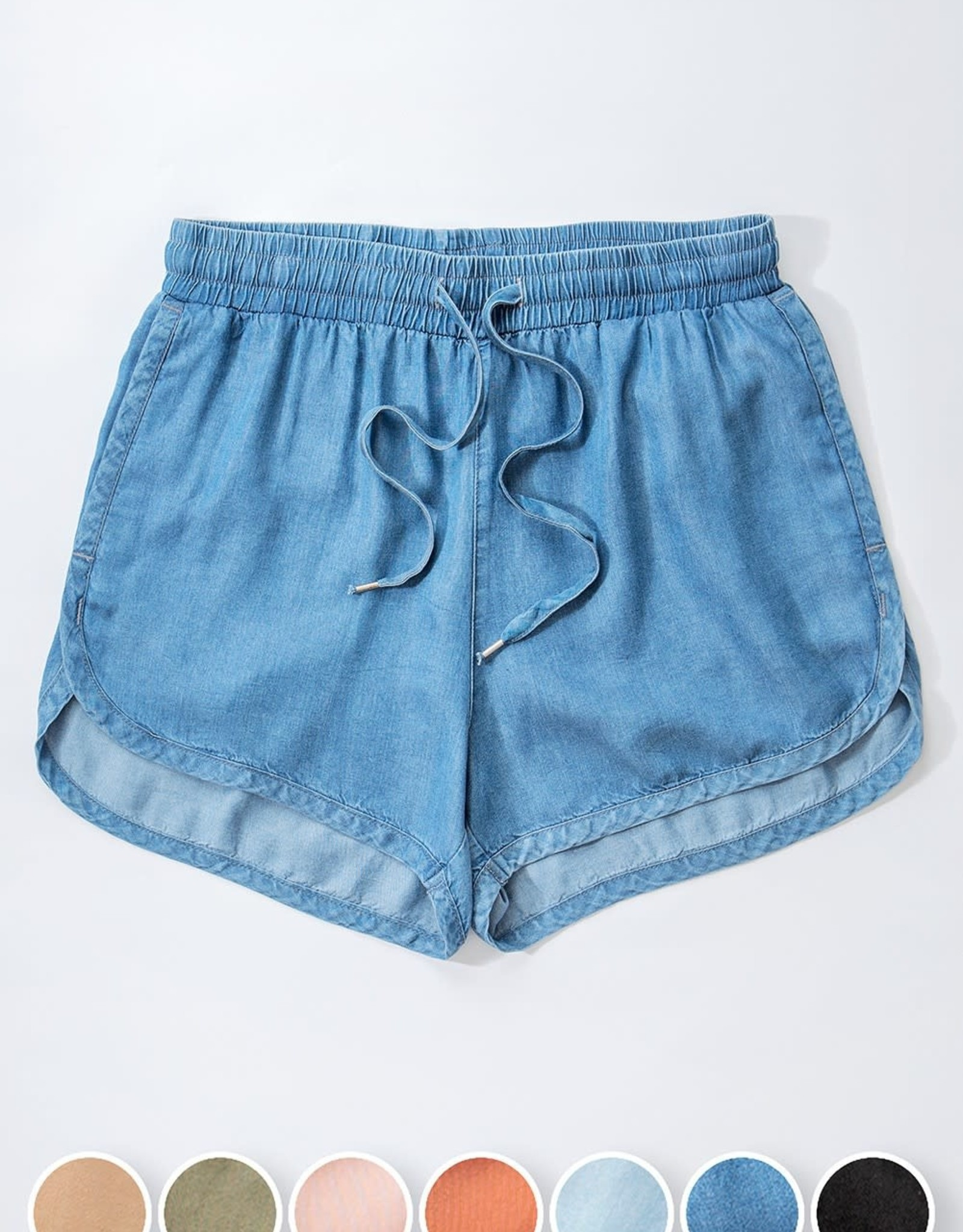 Miss Bliss Tencel Draw String Shorts- Blue