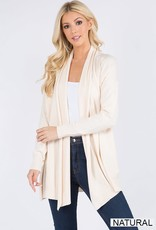 Miss Bliss Soft Waterfall Cardigan- Natural