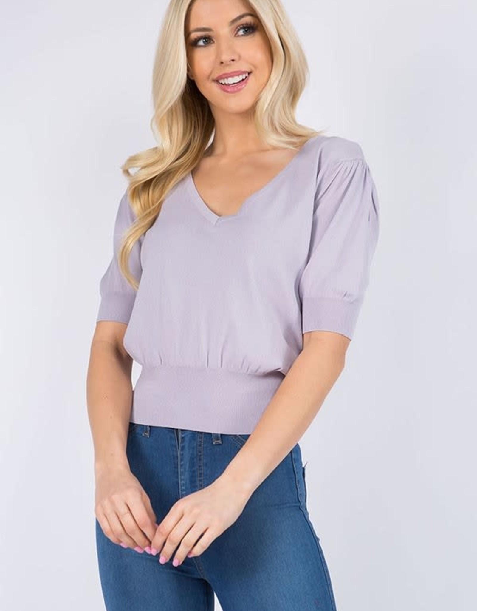 Miss Bliss V Neck SS Top- Lavender