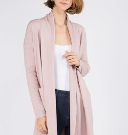 Miss Bliss Open Cardigan With Pockets- H. Peony