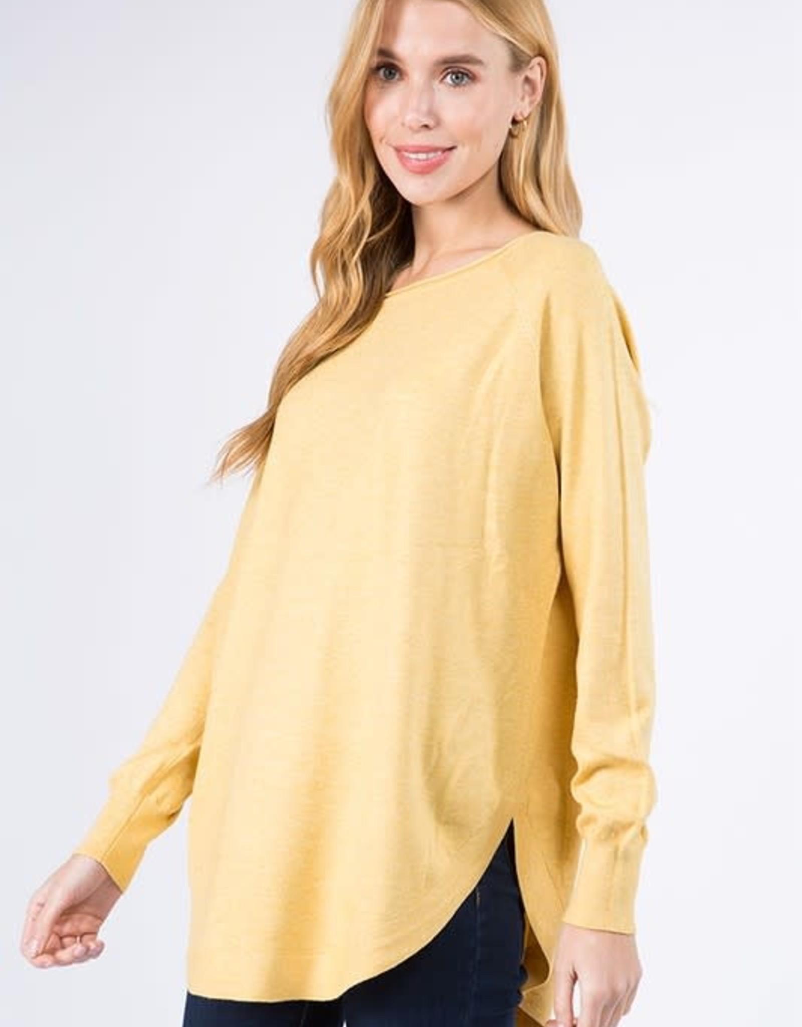 Miss Bliss Boat Neck Sweater w/ Scoop Hem- H. Yellow