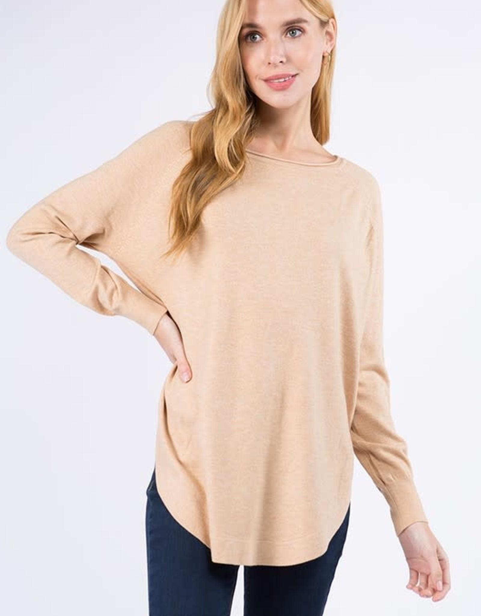 Miss Bliss Boat Neck Sweater w/ Scoop Hem- H. Light Taupe