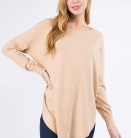 Miss Bliss Boat Neck Sweater w/ Scoop Hem- H. Light Taupe