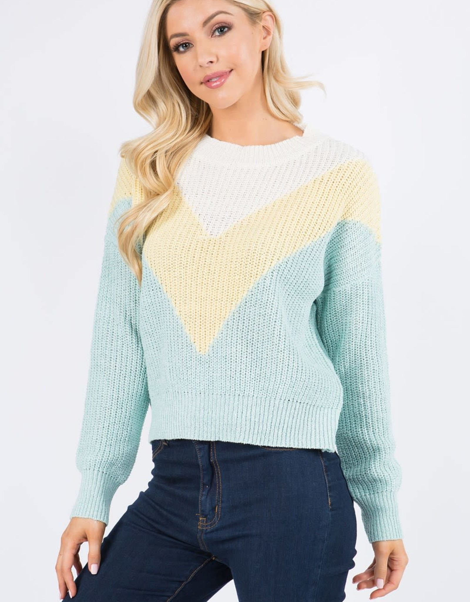 Miss Bliss Color Block Pullover- Yellow Multi