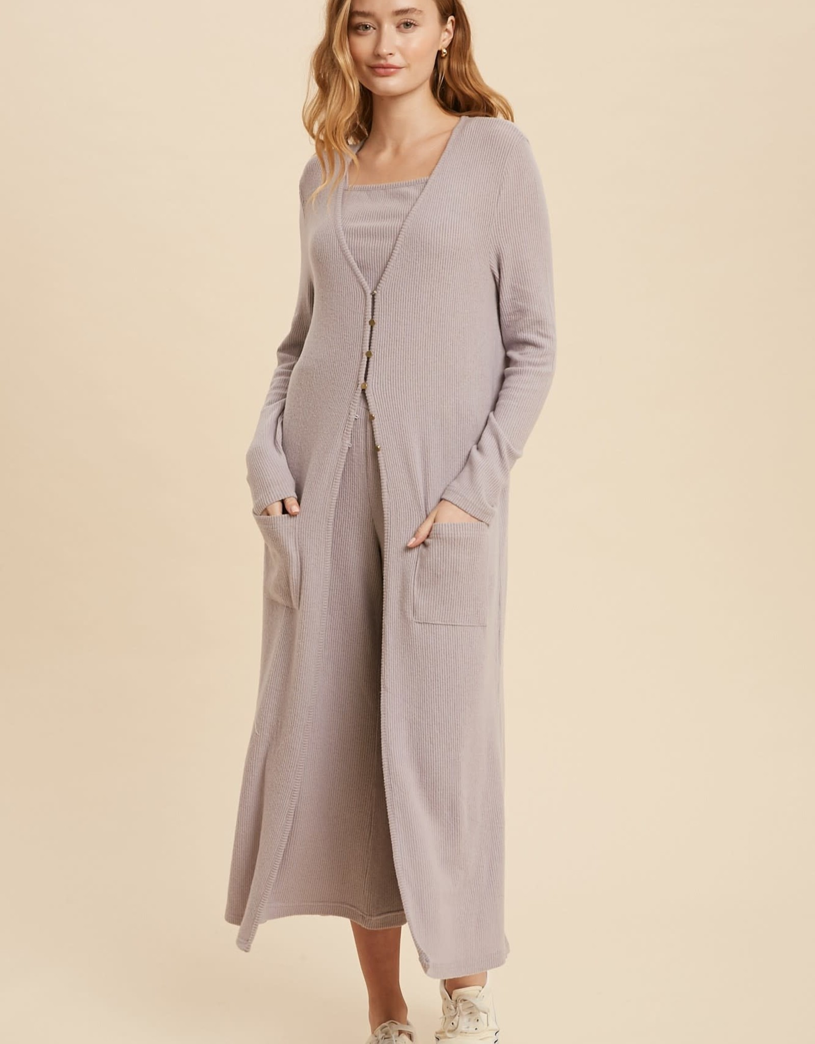 Miss Bliss Ribbed Hacci Duster Cardigan- Lilac Ash