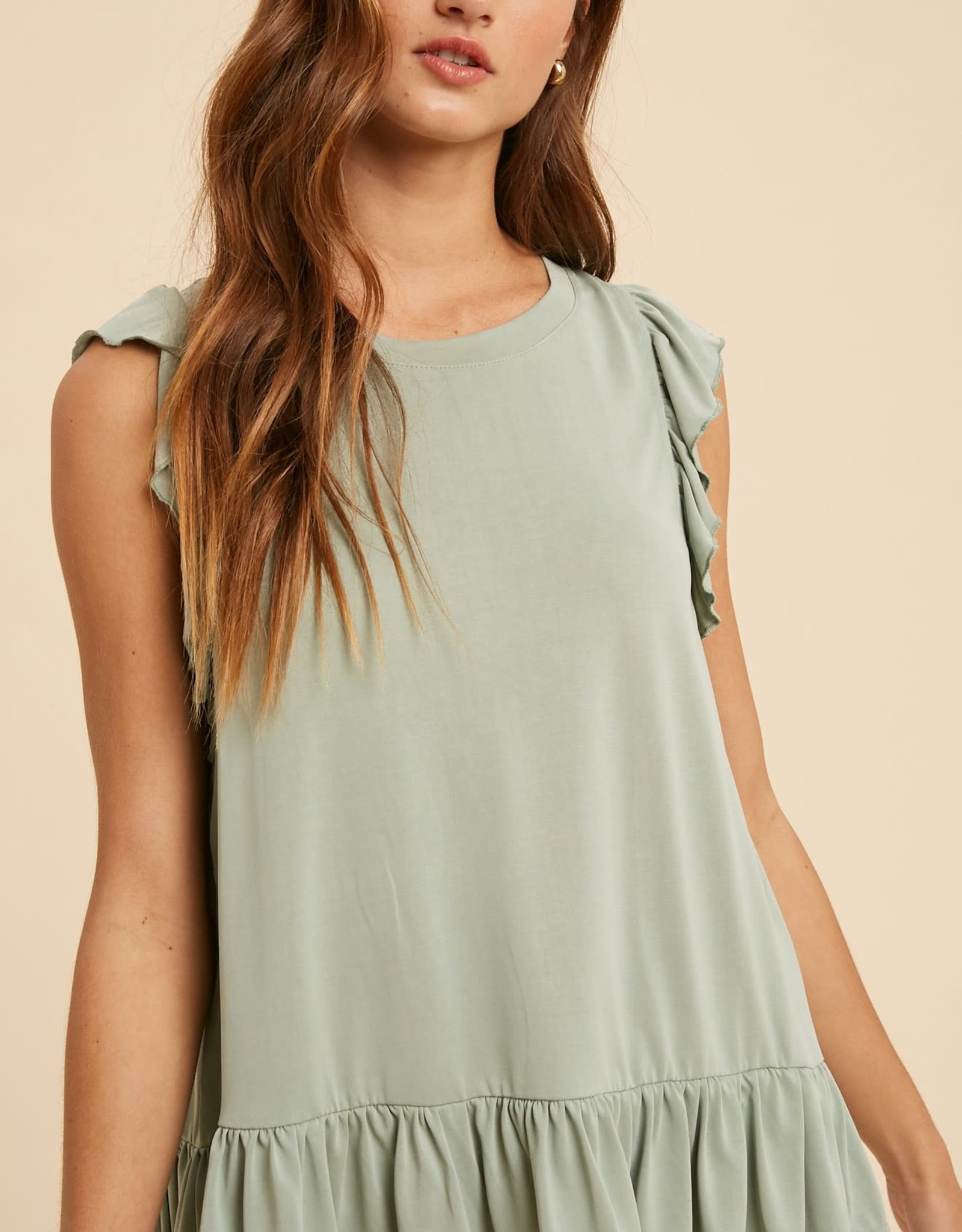 Miss Bliss Ruffled Slvls Blouse- Dusty Sage