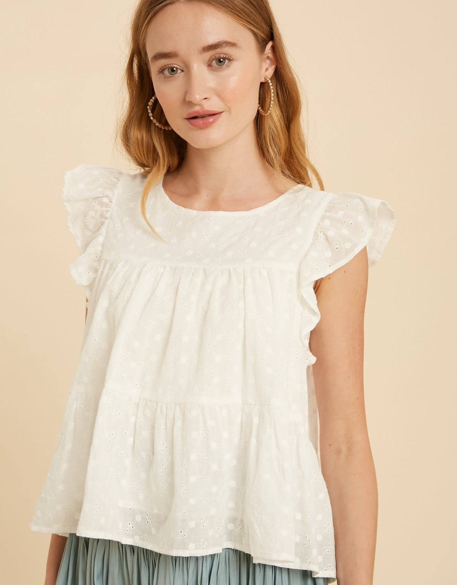 Miss Bliss Tiered Baby Doll Eyelet Top- Off White