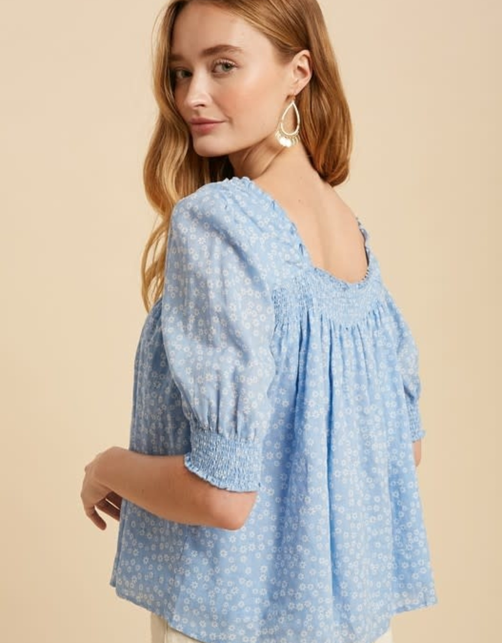 Miss Bliss Square Neck Daisy Print Blouse- Sky Blue