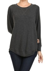 Miss Bliss French Terry LS Top- Mid Grey