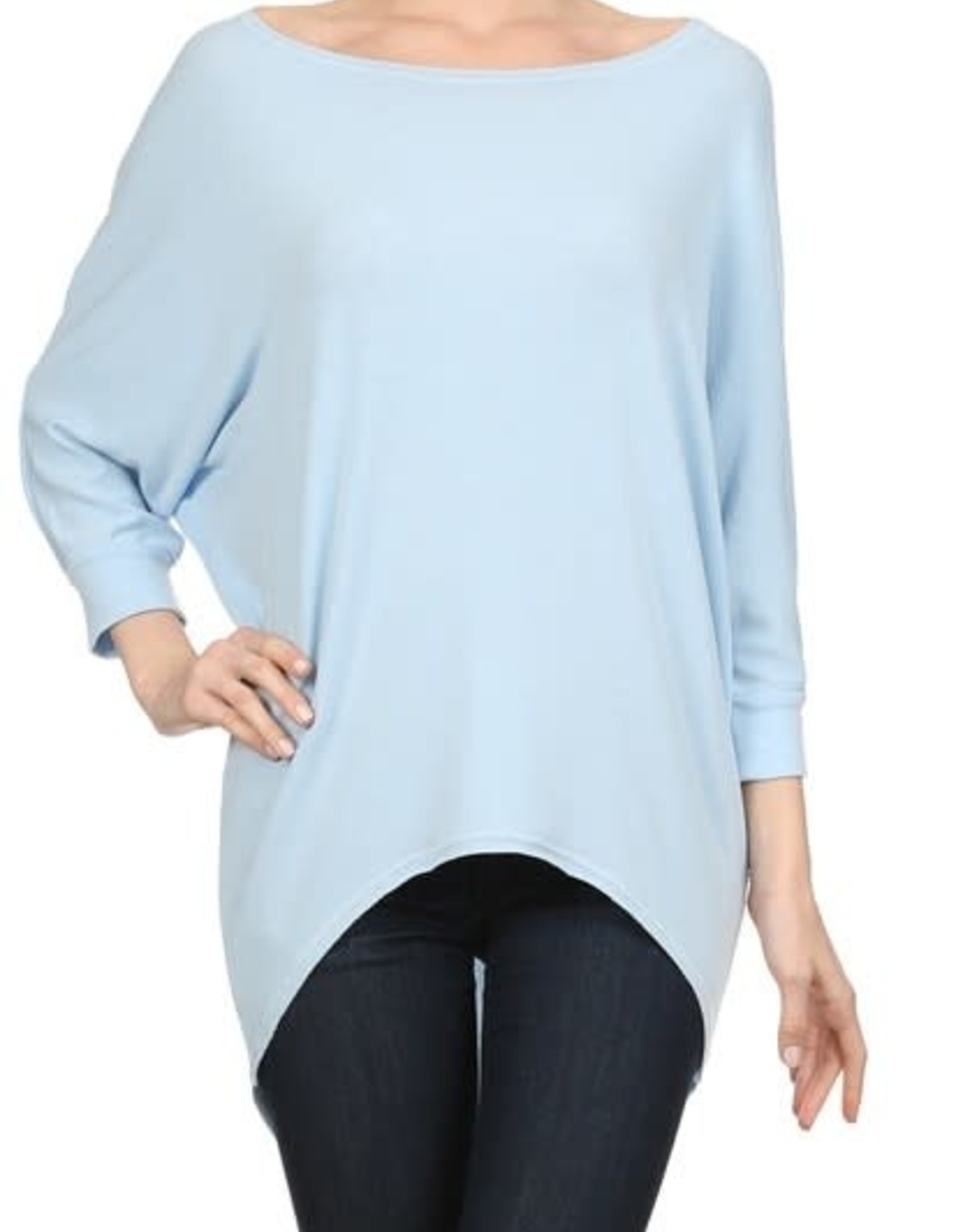 Miss Bliss Scoop Neck Dolman Sleeve Top- Baby Blue