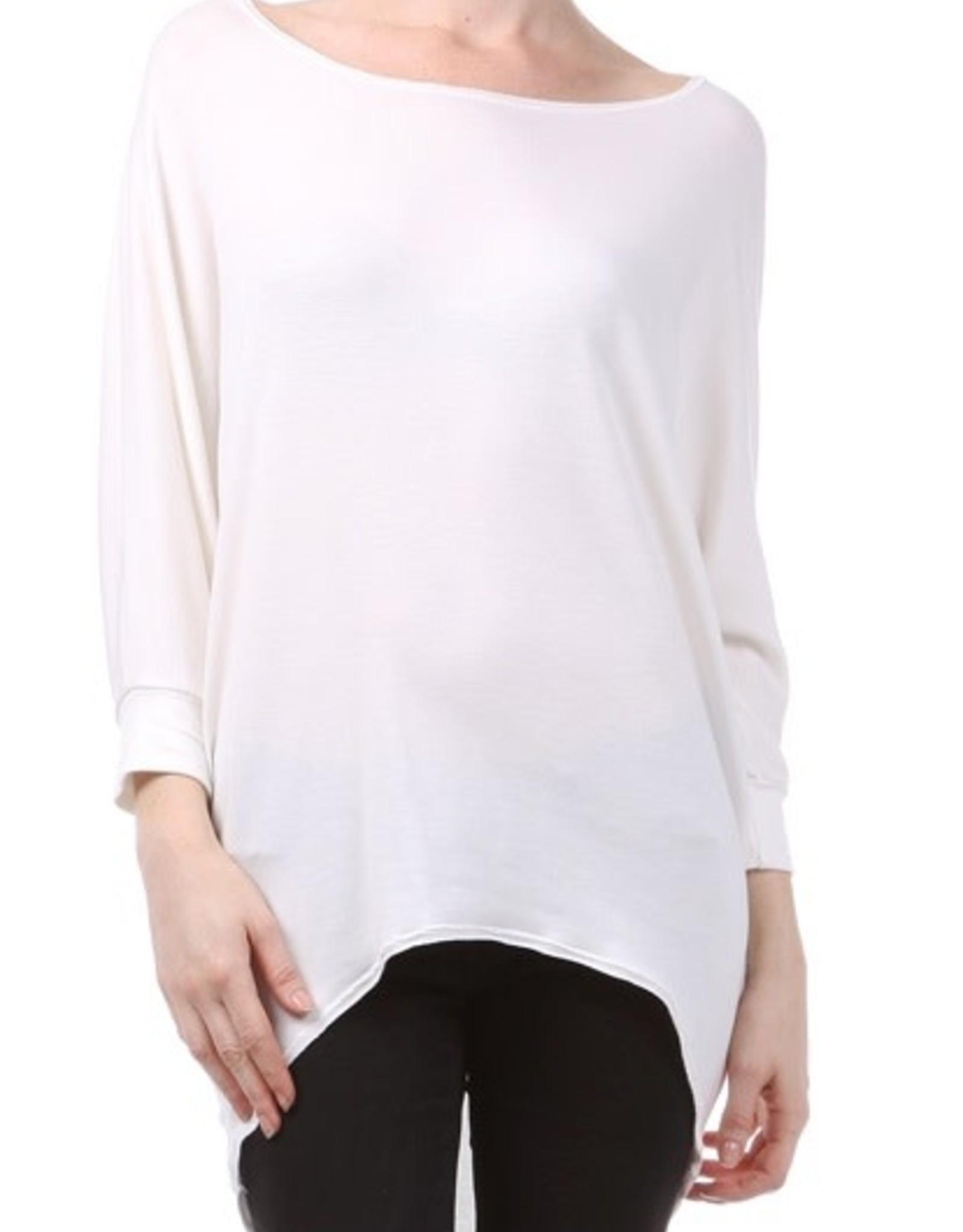Miss Bliss Scoop Neck Dolman Sleeve Top- White