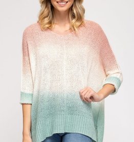 Miss Bliss 3/4 Sleeve Dip Dyed Sweater- Peach & Mint