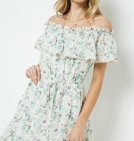 Miss Bliss Floral Print Off Shoulder Ruffled Dress- Green