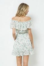Miss Bliss Floral Print Off Shoulder Ruffled Dress- Green
