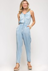 Miss Bliss Slvls Washed Jumpsuit- Lt.Blue