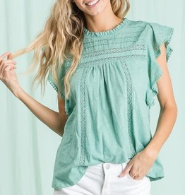 Miss Bliss Two Tone Slvls Knit Top- Sage