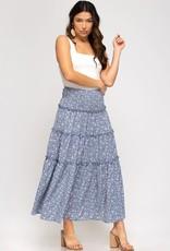 Miss Bliss Woven Printed Maxi Skirt- Blue