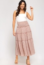 Miss Bliss Woven Printed Maxi Skirt- Rose